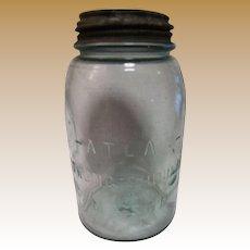 Vintage Atlas Strong Shoulder Mason Aqua Quart Jar Porcelain & Zinc Lid