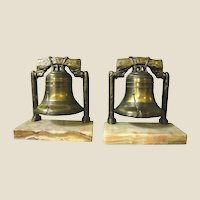 Cast Metal Liberty Bell Bookends, Onyx Base