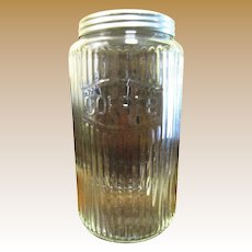 1940's Hoosier Glass Canister Jar with Aluminum Lid