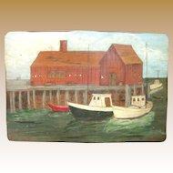 Naive Harbor Scene, Oil on Board, circa 1960's