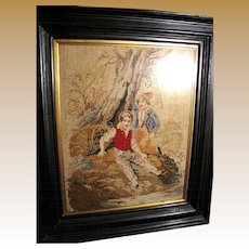 Antique Victorian Needlepoint, Ebonized Frame, Boys by River