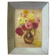 Attractive Mid Century Floral Still Life Impressionist Oil Painting