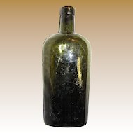 1880s Early Crude Lip Flask Bottle Olive Green