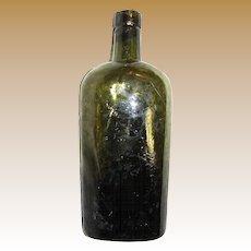 1880s Early Crude Lip Flask Bottle Olive Green