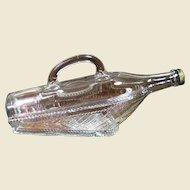 Mid Century Novelty Pressed Glass Wine Decanter Bottle in Basket