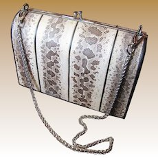 Beautiful Vintage Snakeskin Framed Purse with Chain Strap