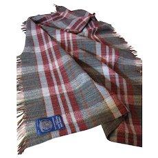 Pure Shetland Wool Hand Loomed Travel Rug Plaid Throw