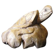 Hand Carved Burl Wood Turtle on a Rock