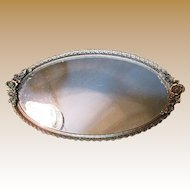 Large Vintage Gilt Filigree Mirrored Vanity Tray
