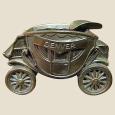 Denver Stage Coach Brass Ashtray & Paperweight,  made by K & O Co. USA
