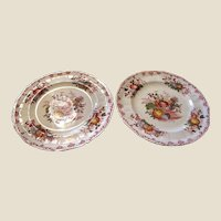 "Pair Masons Ironstone 10"" Dinner Plates, Fruit Basket Pattern"