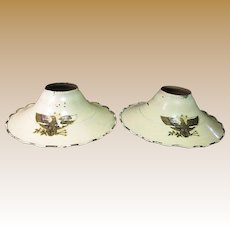 PAIR of 1930's Cream Enameled Industrial Metal Light Shade Reflectors, American Eagle