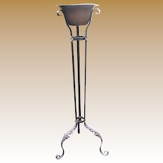 Antique Wrought Iron Plant Stand, Original Poly-chrome Finish, & Copper Bowl