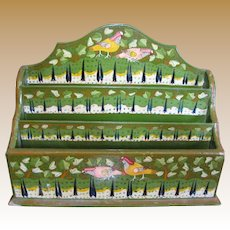 Kashmir Hand Painted Letter Rack with Birds, Trees, Leaves