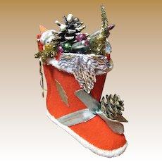 Festive Large 60's Tree Ornament, Santa in Stocking