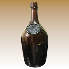 1880's Paul Jones Whiskey Bottle Louisville KY Amber Blown Glass Applied Seal, Excellent Condition
