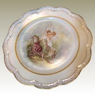 Beautiful Hand Painted Bavarian Cabinet Plate, Lady & Cherub!