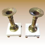 Pair of Elegant Brass & Marble Vintage Candle Holders