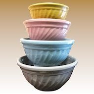 """4 Stacking Stoneware Mixing Bowls """"Color Kraft"""" by Watt Pottery of Crooksville, Ohio"""