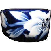 Vintage Japanese Fukagawa Style Signed Porcelain Ashtray w/ Floral Decoration