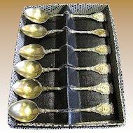 Boxed Set Six Vintage Italian Florentine Demitasse Spoons
