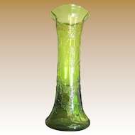 "Beautiful Antique Vaseline Glass 10"" Vase, Holly Design!"