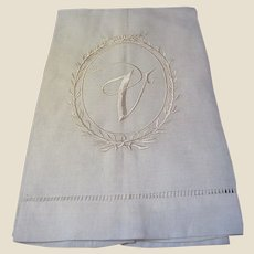 New Old Stock Pure Linen V Mono Finger Towel (3 available)