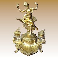 Superb Antique French Gilt Bronze Rococo Style Inkwell, Lady with Eagle