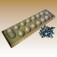 Hand Made Wooden Mancala with Polished Pebble Counters