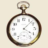 WW1 Elgin 17 Jewel 14K Gold Pocket Watch, Super Condition