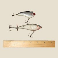 Vintage Hand Carved & Painted Wood Fishing Lures by Danny Chebra, Like New