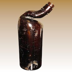 Circa 1940's Three Feathers Whiskey Bottle w/ Fire Melted Neck
