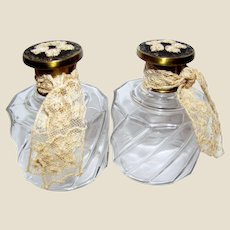 Pair Lace Embellished Vintage English Perfume Bottles