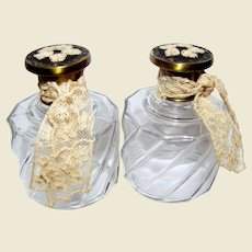 Pair Lace Embellished Vintage English Perfume Bottles