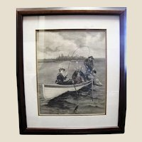 "Antique Engraving ""Her First Muskallonge"", by Frederic Remington for Harpers"