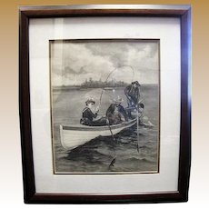 """Antique Engraving """"Her First Muskallonge"""", by Frederic Remington for Harpers"""