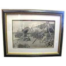 """Antique engraving """"Preparing Nets for Shad Fishing"""" by W, A. Rogers for Harpers"""