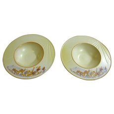 """2 Pfaltzgraff Peace on Earth Rimmed 11"""" Soup or Pasta Bowls"""