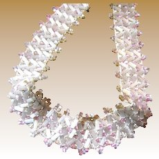 "24"" Section of Circa 1930's 3/4"" Wide Pink & White Glass Bead Trim (up to 9 sections available)"