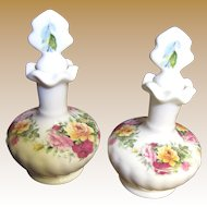 Beautiful Pair of Matching English Bone China Perfume Bottles