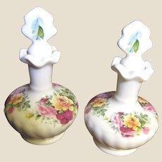 Beautiful Pair of Matching English Bone China Perfume Bottles