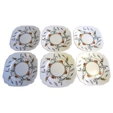 6 English Art Deco Porcelain Tea Plates by Standard China