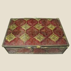 Unusual Reverse Painted Glass Vintage Jewelry Box