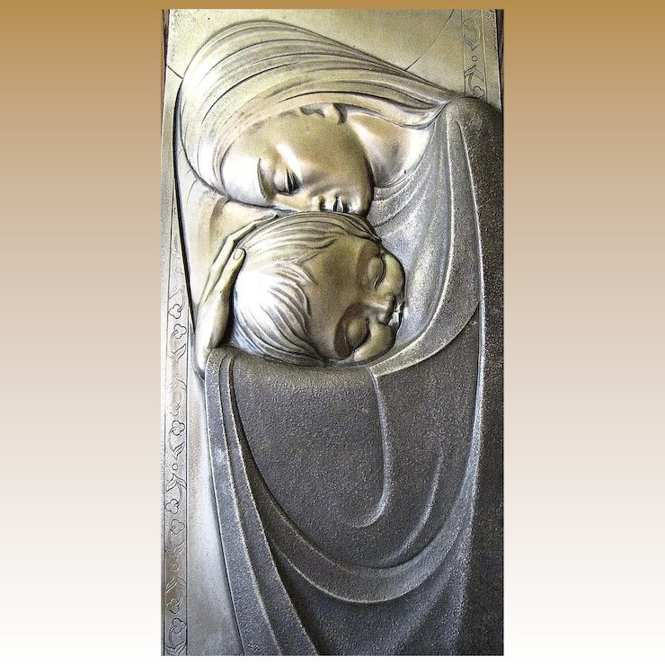 Art Deco Pressed Metal Wall Art of Mother & Child : Fay Wray ...