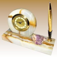 Art Deco West German Clock, Pen Stand, Marble & Amethyst Quartz