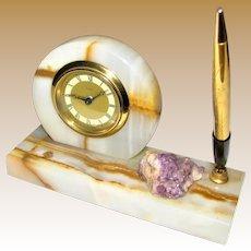 Art Deco West German Clock, Pen Stand, Marble & Amethyst Quartz