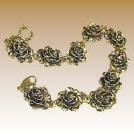 Vintage Gold Tone Avon Heirloom Rose Link Bracelet