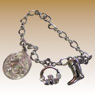 Chrome Starter Charm Bracelet with 3 Sterling Charms