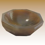 "Antique Octagonal Hand Carved Agate 4 1/4"" Bowl"