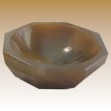 """Antique Octagonal Hand Carved Agate 4 1/4"""" Bowl"""